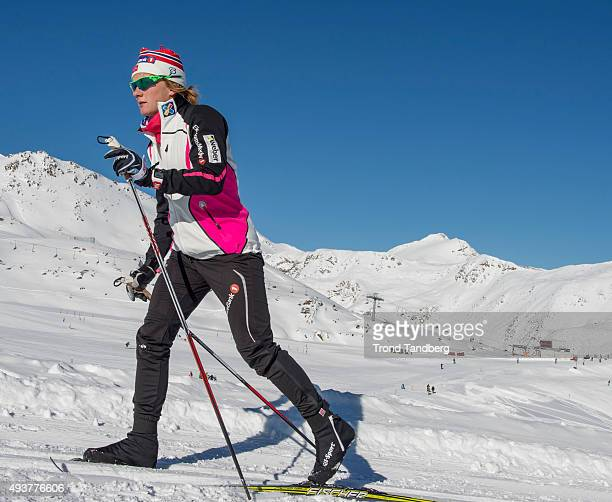 Maiken Caspersen Falla of Norway during training session on the glacier in Maso Corto Val Senales on Oktober 21 2015 in Val Senales Italy