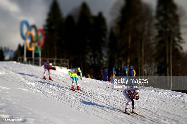 Maiken Caspersen Falla of Norway leads the pack in the Finals of the Ladies' Sprint Free during day four of the Sochi 2014 Winter Olympics at Laura...