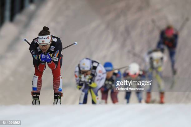 Maiken Caspersen Falla of Norway leads the Women's 1.4KM Cross Country Sprint first semi final during the FIS Nordic World Ski Championships on...