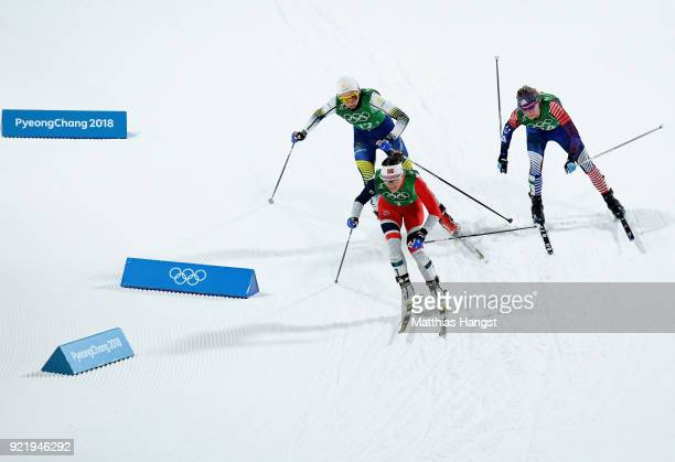 Maiken Caspersen Falla of Norway Stina Nilsson of Sweden and Jessica Diggins of the United States compete during the Cross Country Ladies' Team...