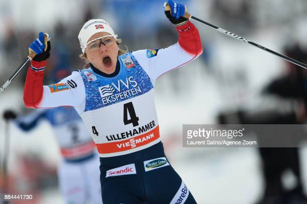 Maiken Caspersen Falla of Norway takes 1st place during the FIS Nordic World Cup Men's and Women's Cross Country Sprint on December 2 2017 in...