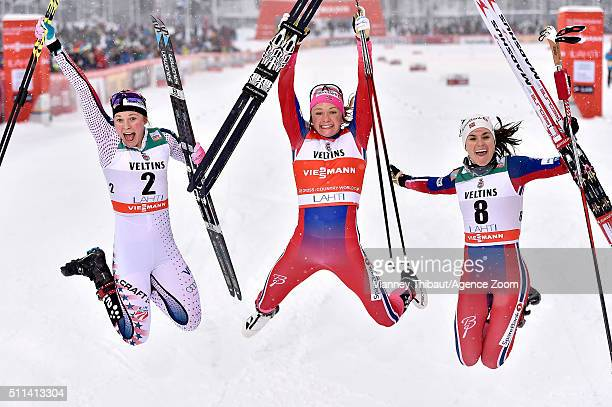 Maiken Caspersen Falla of Norway takes 1st place Jessica Diggins of the USA takes 2nd place Heidi Weng of Norway takes 3rd place during the FIS...