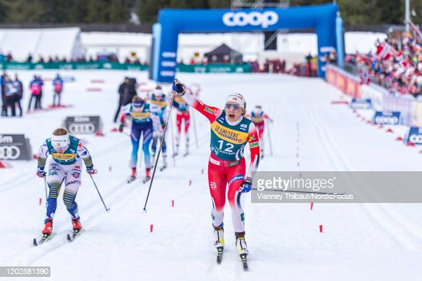Maiken Caspersen Falla of Norway takes first place during the Women's SP F Final at the FIS Cross-Country World Cup Trondheim on February 22, 2020 in...