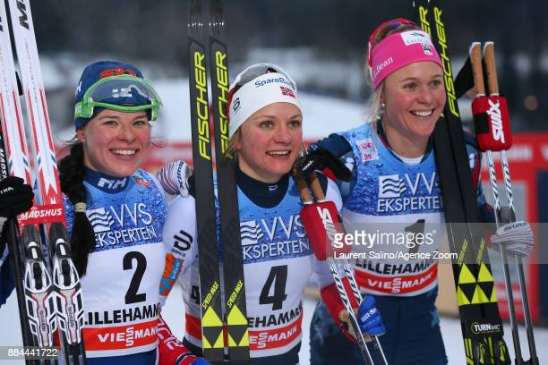 Maiken Caspersen Falla of Norway takes joint 1st place Krista Parmakoski of Finland takes 2nd place Sadie Bjornsen of USA takes 3rd place during the...