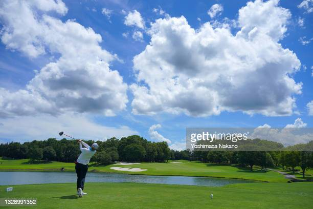 Maiko Wakabayashi of Japan hits her tee shot on the 17th hole during first round of the GMO Internet Ladies Samantha Thavasa Global Cup at Eagle...