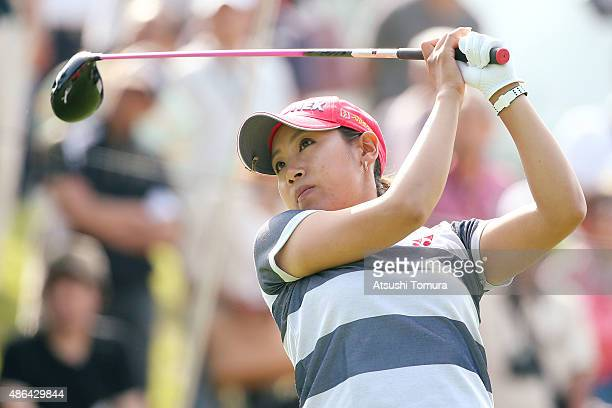 Maiko Wakabayashi of Japan hits her tee shot on the 1st hole during the first round of the Golf 5 Ladies Tournament 2015 at the Mizunami Country Club...