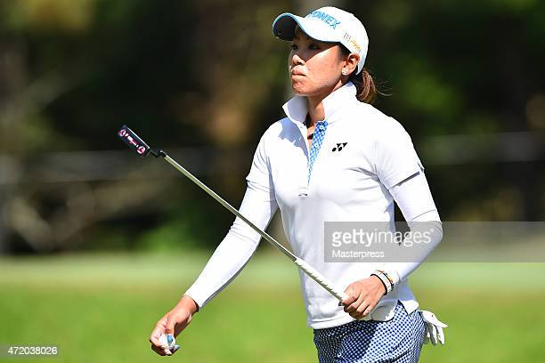 Maiko Wakabayashi of Japan looks on during the third round of the CyberAgent Ladies Golf Tournament at the Tsurumai Country Club West Course on May 3...