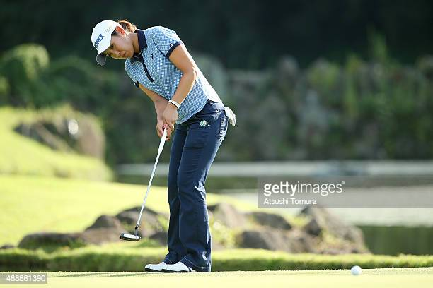Maiko Wakabayashi of Japan putts on the 18th green during the first round of the Munsingwear Ladies Tokai Classic at the Shin Minami Aichi Country...
