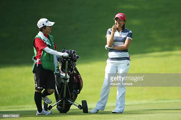 Maiko Wakabayashi of Japan smiles during the first round of the Golf 5 Ladies Tournament 2015 at the Mizunami Country Club on September 4 2015 in...