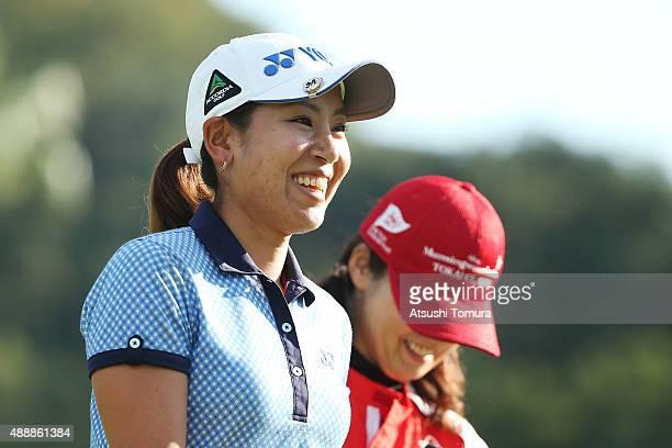 Maiko Wakabayashi of Japan smiles during the first round of the Munsingwear Ladies Tokai Classic at the Shin Minami Aichi Country Club Mihama Course...