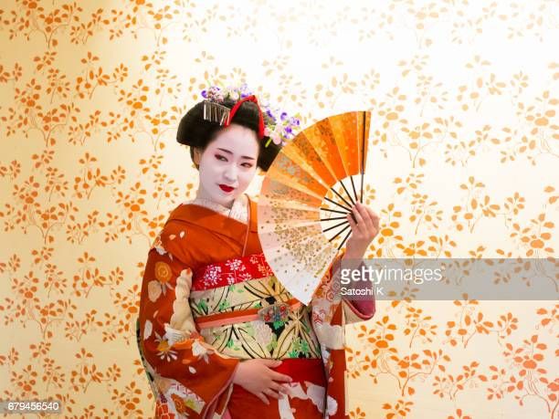 maiko woman dancing on stage - stage costume stock pictures, royalty-free photos & images