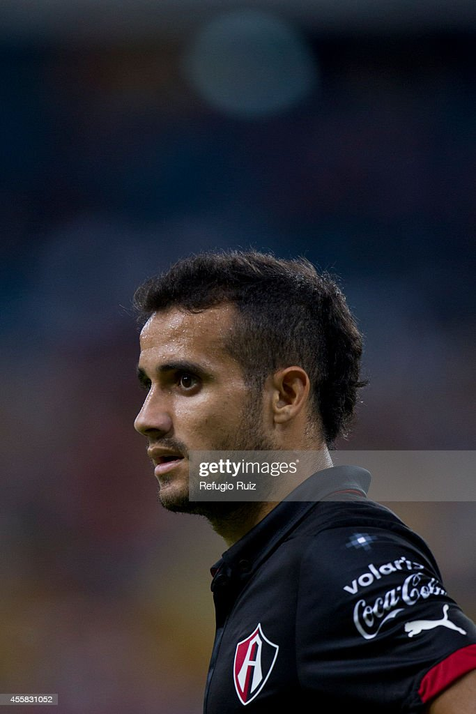Maikon Souza of Atlas looks on during a match between Atlas and Cruz Azul as part of 9th round Apertura 2014 Liga MX at Jalisco Stadium on September 20, 2014 in Guadalajara, Mexico.