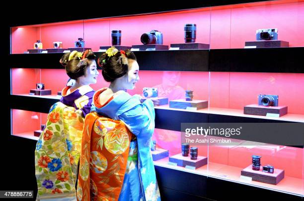 Maikos attend the Leica Kyoto store press preview ahead of the official opening on March 14 2014 in Kyoto Japan