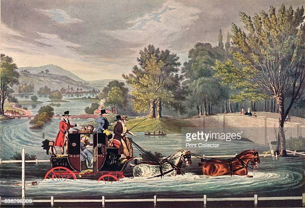 Through the Floods Painted by James Pollard Engraved by S.Rosenbourg