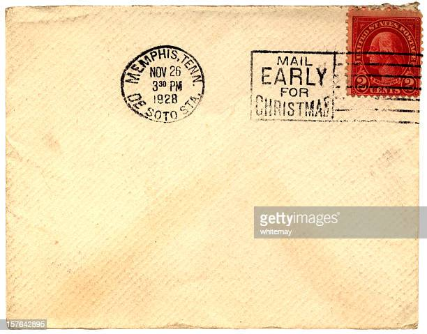 mail early for christmas envelope sent from memphis, tennessee 1928 - postmark stock pictures, royalty-free photos & images