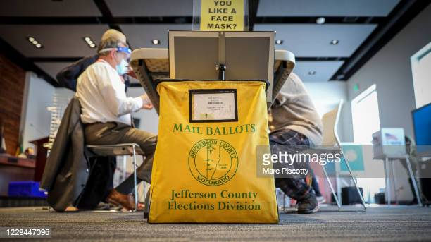 Mail in ballot collection box is seen at Edgewater City Hall on November 3, 2020 in Edgewater, Colorado. After a record-breaking early voting...