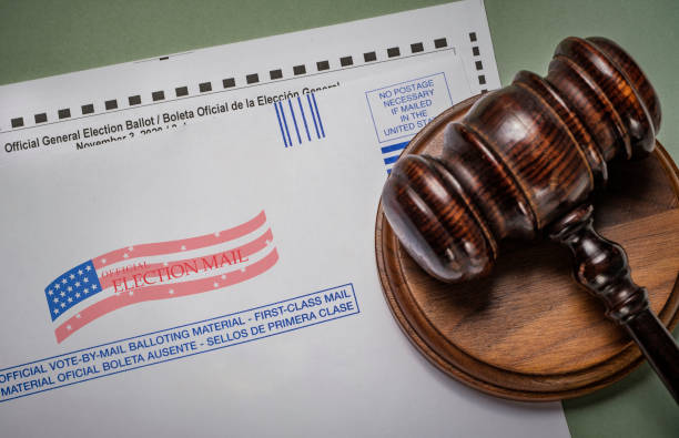 2020 mail in election ballot and envelope  with judge's gavel