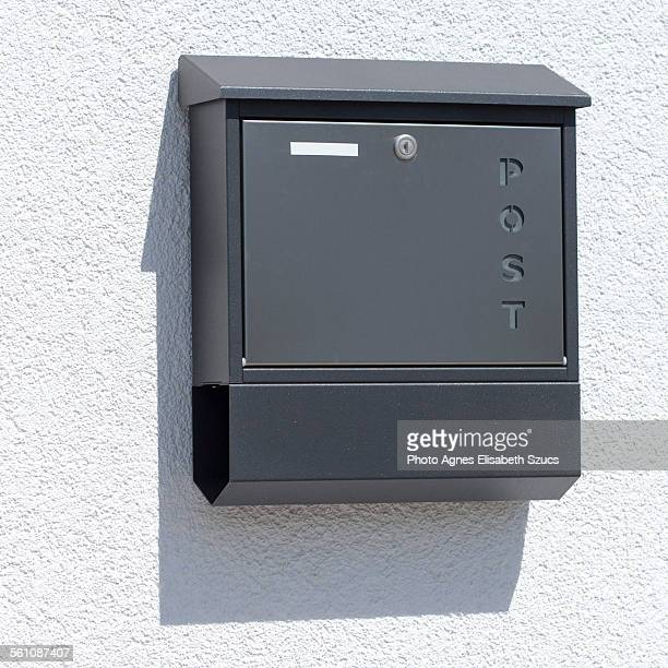 mail & newspaper box with shadow - domestic mailbox stock pictures, royalty-free photos & images