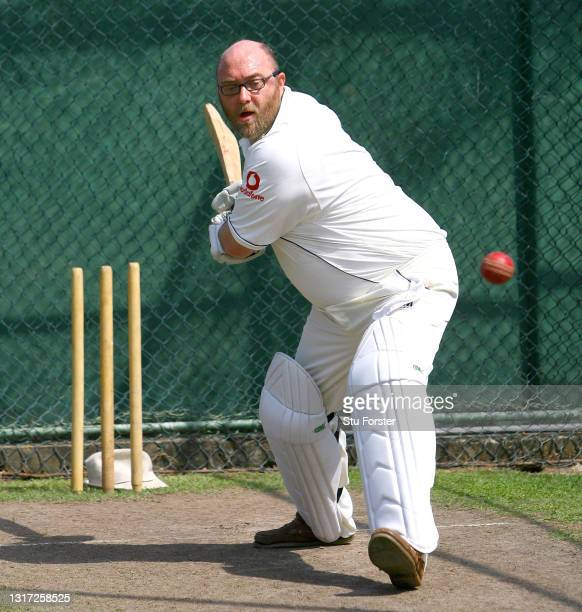 Mail on Sunday Cricket journalist Peter 'Reggie' Hayter in action in the nets facing the bowling of Sri Lanka spin bowler Muttiah Muralitharan at the...