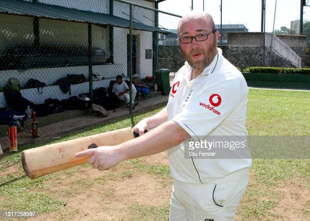 Mail on Sunday Cricket journalist Peter 'Reggie' Hayter pictured in the nets after facing the bowling of Sri Lanka spin bowler Muttiah Muralitharan...