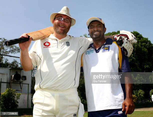 Mail on Sunday Cricket journalist Peter 'Reggie' Hayter pictured with Sri Lanka spin bowler Muttiah Muralitharan after facing the bowler in the nets...
