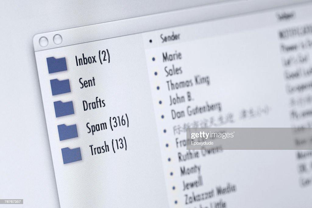 Mail program on computer screen : Stock Photo