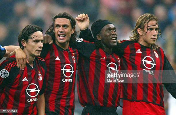 LEAGUE 02/03 Mailand AC MAILAND FC BAYERN MUENCHEN 21 SCHLUSS JUBEL TEAM MAILAND Filippo INZAGHI Paolo MALDINI Clarence SEEDORF Samuele DALLA BONA