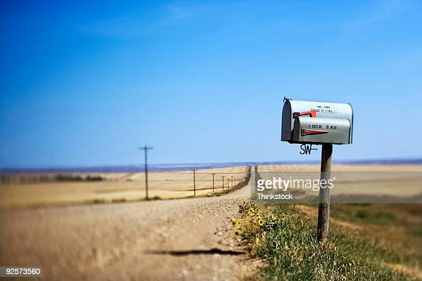 mailbox on dirt road, montana - mailbox stock pictures, royalty-free photos & images
