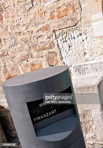 Mailbox outside a tax office, Melsungen, Hesse, Germany, Europe