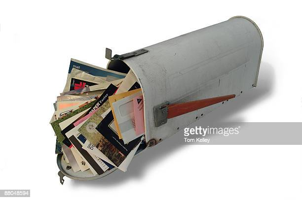 A mailbox overstuffed with junk mail and other letters ca1970s