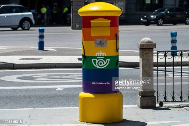Mailbox painted with the Rainbow LGTB colors. The Spanish Postal Service has painted some mailboxes for the occasion of LGBT Pride Day in order to...