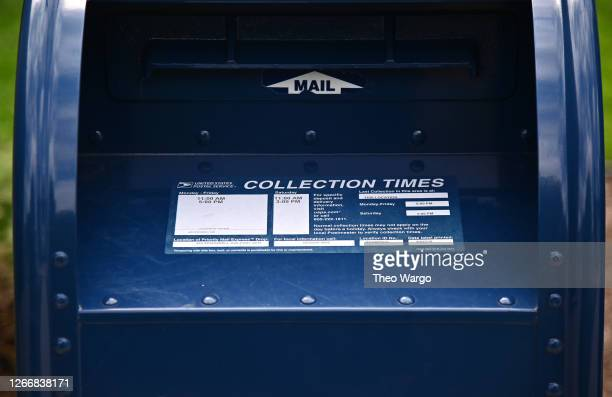 Mailbox sits outside of a Morris Plains, New Jersey post office on August 17, 2020 in Morris Plains, New Jersey. Postmaster General Louis DeJoy has...
