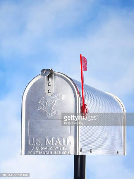 us mailbox with flag, close-up - domestic mailbox stock pictures, royalty-free photos & images