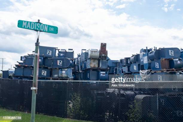 Mailboxes from across the country are stored outside of Hartford Finishing Inc. Where they will be refurbished or repaired on August 17, 2020 in...