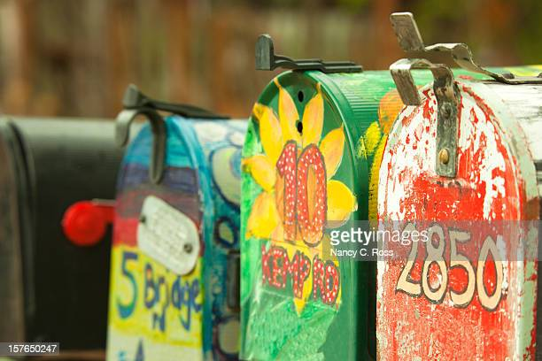 Mailboxes in a Row, Brightly Painted, Rural