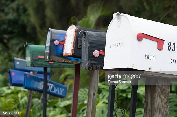 mailboxes in kona, island of hawaii - domestic mailbox stock pictures, royalty-free photos & images