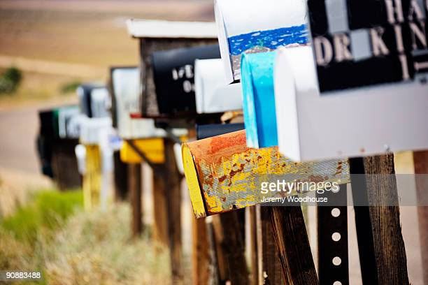 mailboxes on route 66 - domestic mailbox stock pictures, royalty-free photos & images