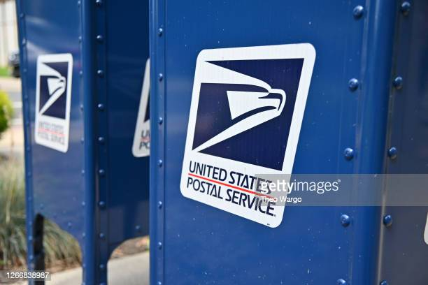 Mailboxes sit outside of a Morris Plains, New Jersey post office on August 17, 2020 in Morris Plains, New Jersey. Postmaster General Louis DeJoy has...