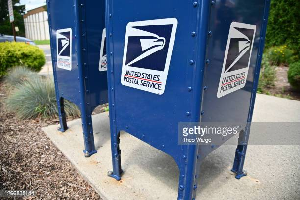 Mailboxes sit outside of the Morris Plains, New Jersey post office on August 17, 2020 in Morris Plains, New Jersey. Postmaster General Louis DeJoy...