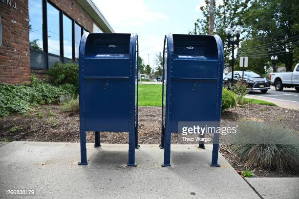 Mailboxes sit outside of the Morris Plains, NJ post office on August 17, 2020 in Morris Plains, New Jersey. Postmaster General Louis DeJoy has...