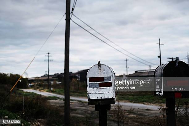 Mailboxes stand along a road in an industrial area on October 24 2016 in Youngstown Ohio Ohio has become one of the key battleground states in the...
