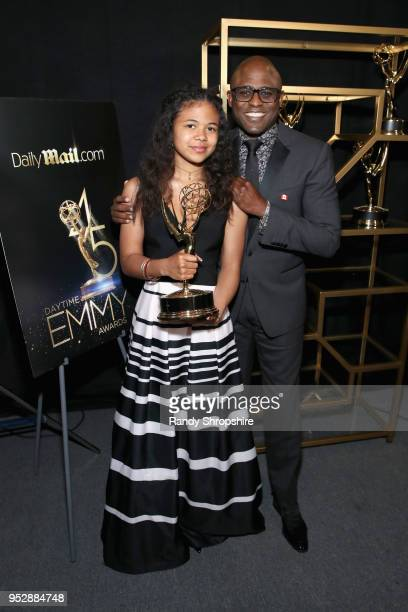 Maile Masako Brady and 'Let's Make a Deal' host Wayne Brady winner of Outstanding Game Show Host attend the DailyMailcom DailyMailTV Trophy Room at...