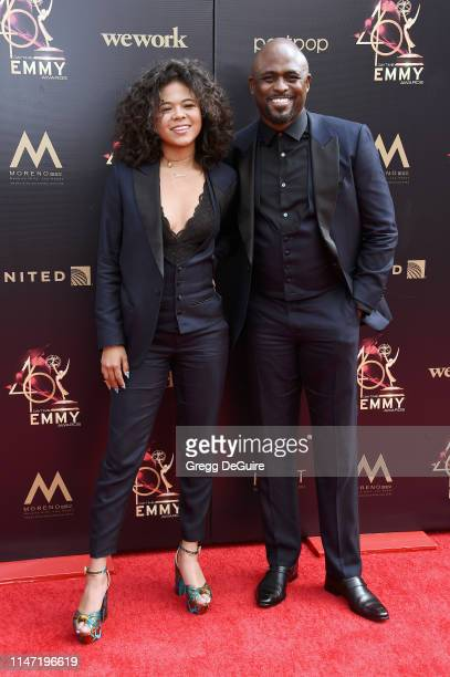 Maile Masako Brady and Wayne Brady attend the 46th annual Daytime Emmy Awards at Pasadena Civic Center on May 05 2019 in Pasadena California