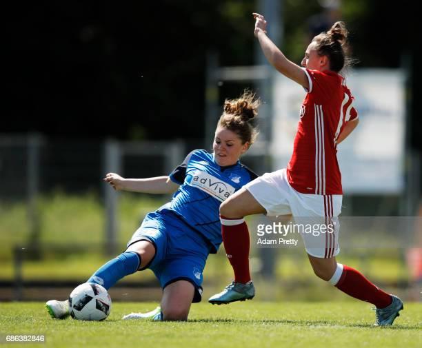 Maileen Moessner of Hoffenheim II is challenged by Melanie Keunrath of FC Bayern Munich II during the match between 1899 Hoffenheim II and FCB...