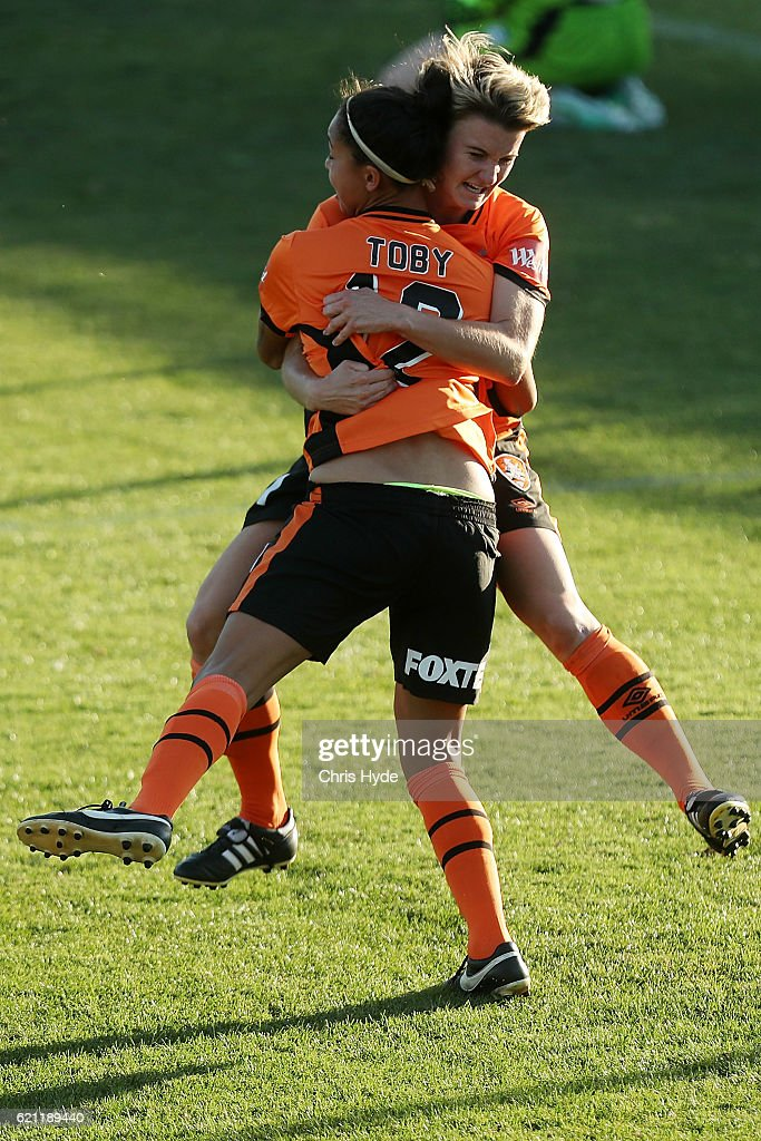 Maili Forbes of the Roar celebrates after scoring during the round one W-League match between the Brisbane Roar and Sydney FC at Spencer Park on November 5, 2016 in Brisbane, Australia.