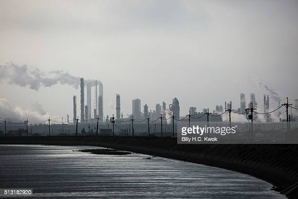 Mailiao sixth naphtha cracker industries emit smoke on January 31 2016 in Yilan Taiwan Japanese and European glass eels have been on the danger of...