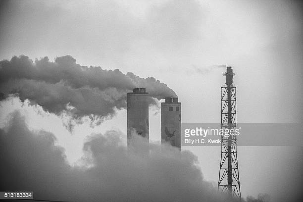 Mailiao sixth naphtha cracker industries emit smoke on January 31 2016 in Yunlin Taiwan Japanese and European glass eels have been on the danger of...