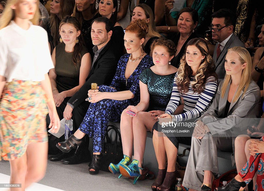 Mai-Linh Lofgren, Michael Stuhlbarg, Christiane Seidel, Emma Kenney and Candice Accola attend the Nanette Lepore fashion show during Mercedes-Benz Fashion Week Spring 2014 at The Stage at Lincoln Center on September 11, 2013 in New York City.