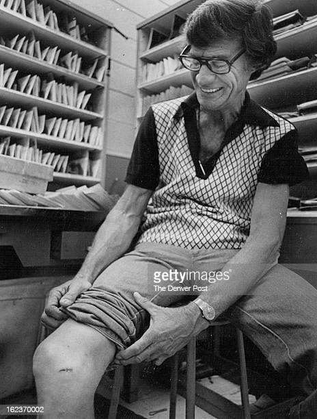 JUL 25 1981 JUL 26 1981 Mailman Tom Martin He's working inside after dog bite required three stitches in his knee