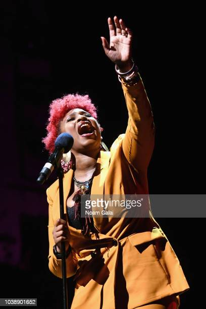 Symone Sanders Insha Rahman and Alec Karakatsanis speak onstage during Global Citizen Week At What Cost at The Apollo Theater on September 23 2018 in...